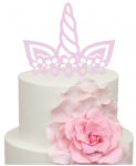 Unicorn full horns and ears with flowers Cake Acrylic Topper